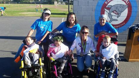 NHES Jog-a-Thon Honored Olympic Gold Medalist, April Ross with Mrs. Hisaka's  class